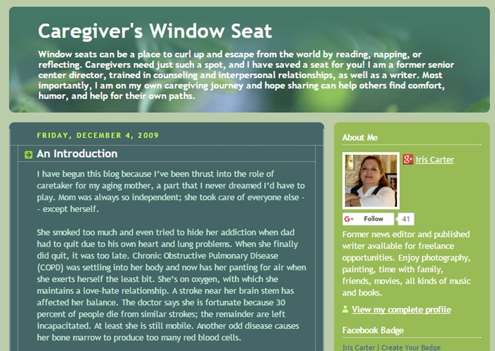 Caregiver's Window Seat
