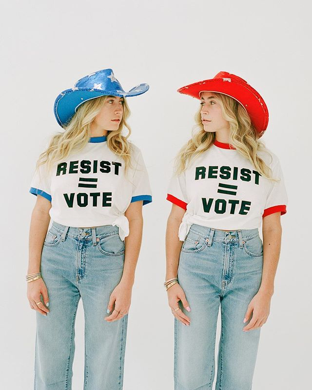 We have the power to stand up for what we believe in and make a change, so get out there and vote! All the cool kids are doing it. @modelcitizensvote @vmagazine photo: @jacqharriet  stylist: @jakesammis makeup: @tamah_krinsky  hair: @_gloriaespinoza @lauryntullio
