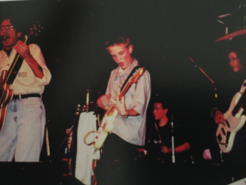 Playing the same Strat I used for this cover, in 1999.  Ed on Vocals, Jordan Cook (Reignwolf) on drums, Lynn Victoria on Bass, Big Dave McClean (out of frame, to the left of Ed) on harmonica.