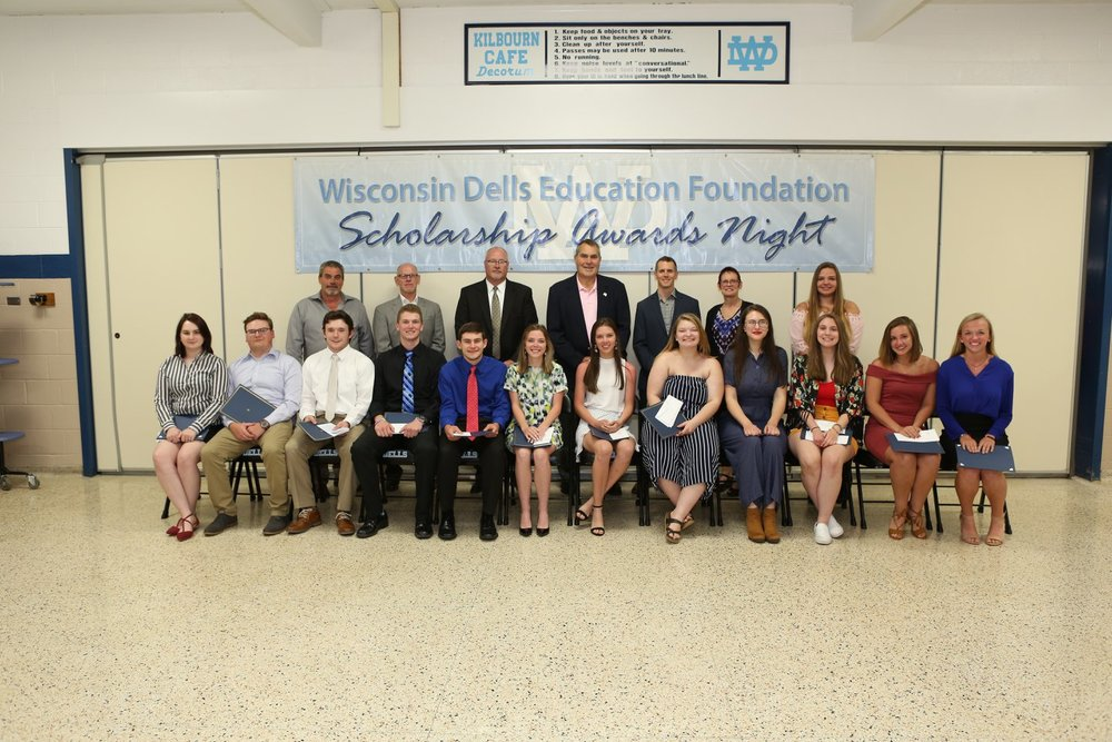 Front Row (L-R):  Christina Vulpitta, William Walsh, Travis Hudack, Jackson Sveum, Daniel Kalcik, Paris Lindner, Taylor Campbell, BriAnna Popp, Taylor Schumann, Alexis Leonard, Maia Backhaus, Jamie Bates  Back Row (L-R):  WDEF Executive Board:  Todd Nelson, Randyu Kuhnau, Kelly Bauer, Tom Diehl, Kyler Royston, Marti Fults  Recipients:  Shayla Stefan (not pictured-Sergey Minaev and WDEF Board Member Joe Gussel)