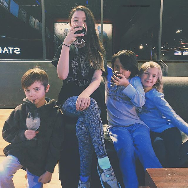 Coolest band ever? Bowling crew? Fancy people? All of the above. #divorceclubkids #bowling #wefancy #kidlets