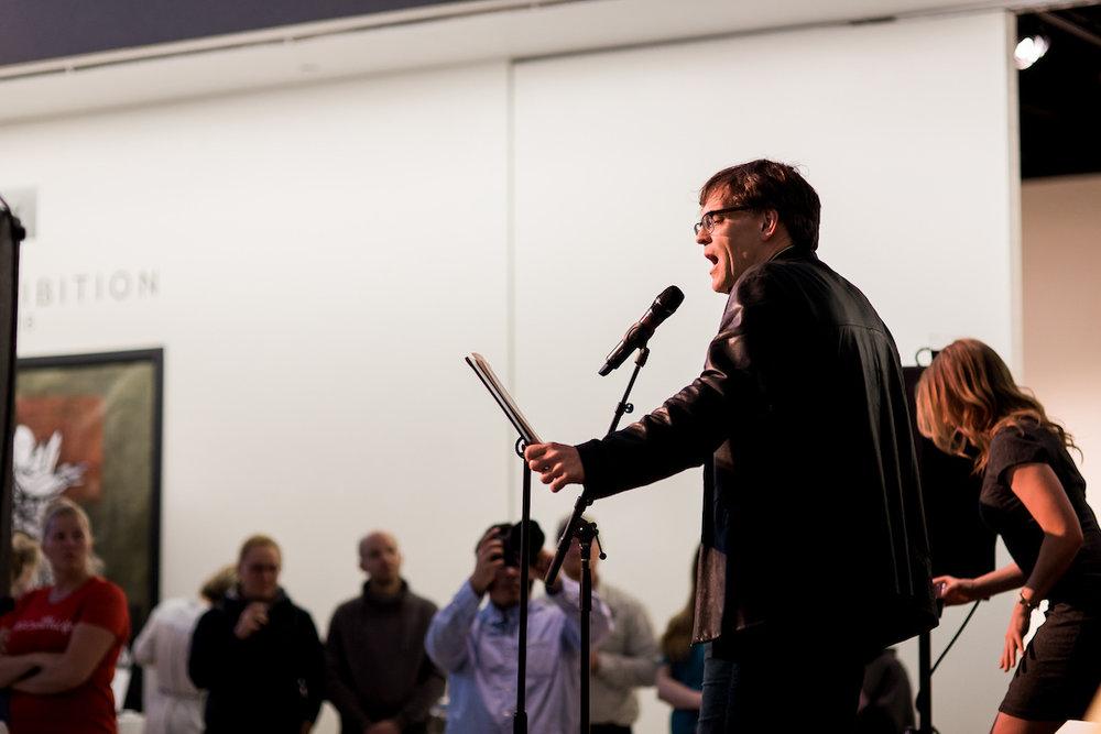 Actor Peter Parolin reads a story. Photo credit Megan Lee Photography