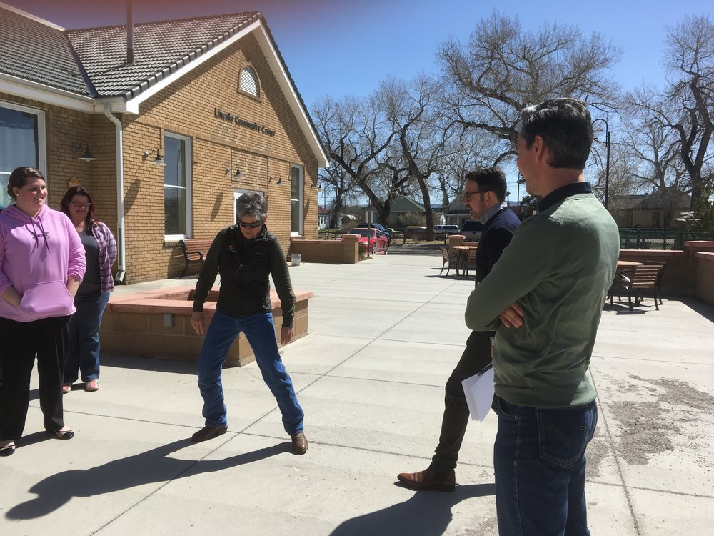 Citizen participates in an exercise led by the artists.  photo credit Meg Thompson Stanton