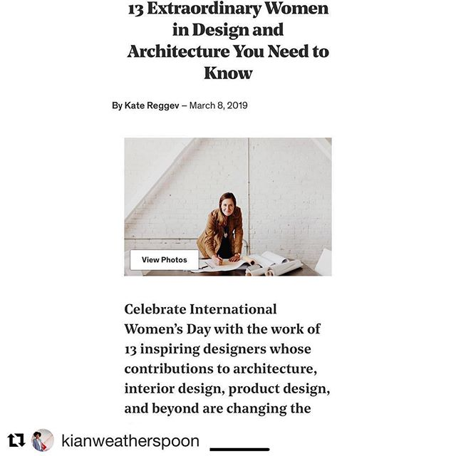 Can you say proud of our #ladyboss ! We're proud EVERYDay but on #internationalwomensday we love her shine!!! #Repost @kianweatherspoon ・・・ In the company of great women on #internationalwomensday ! Thank you @dwellmagazine for  recognizing #DesignEquity and @determinedbydesign