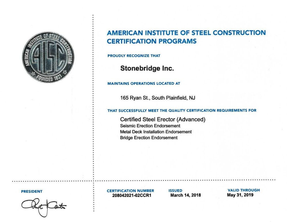 2019 aisc certificate
