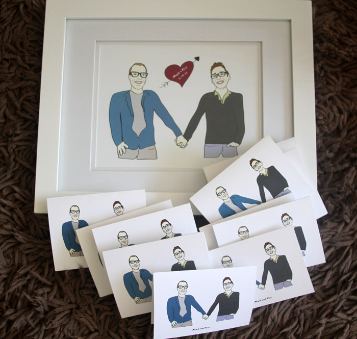 Custom illustrated print + set of greeting cards for Mark & Eric
