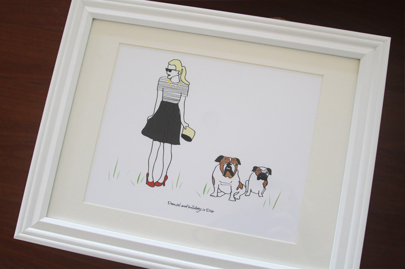 Custom illustrated print for blogger,  Damsel in Dior