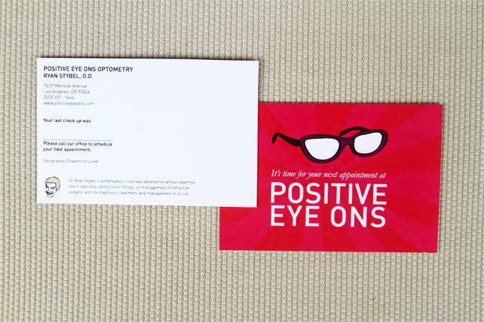 Appointment reminder cards for Optometrist Ryan Stybel at Positive Eye Ons
