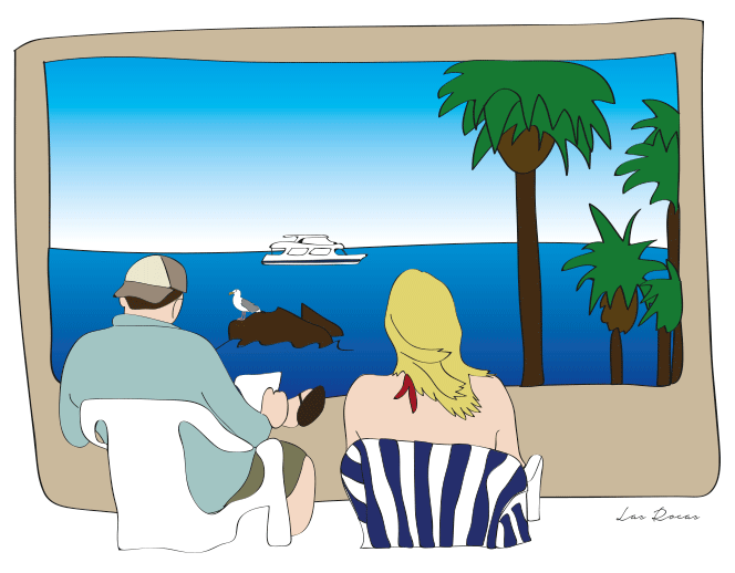 Custom illustration for Jim & Vika to remember their trip to Las Rocas, Mexico