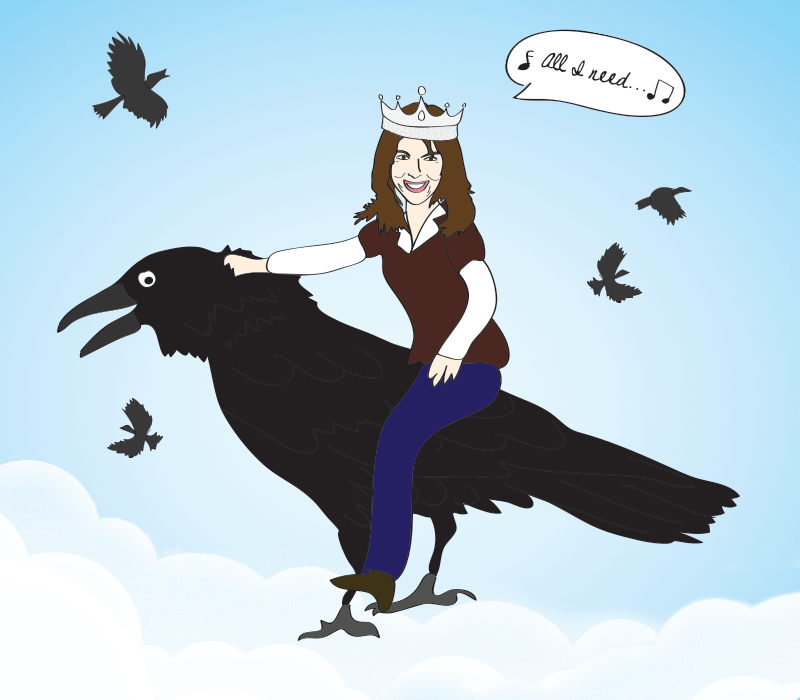 Mariann from Brooklyn rides a crow with her crown on