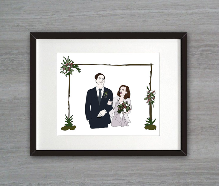 Custom illustrated wedding gift for Spencer and Turner