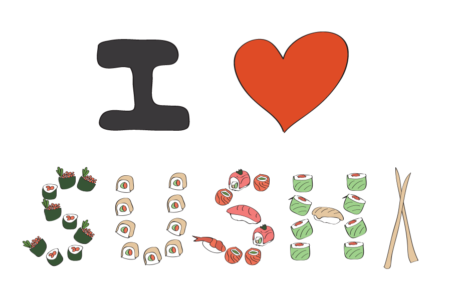 I LOVE SUSHI - drawn for you