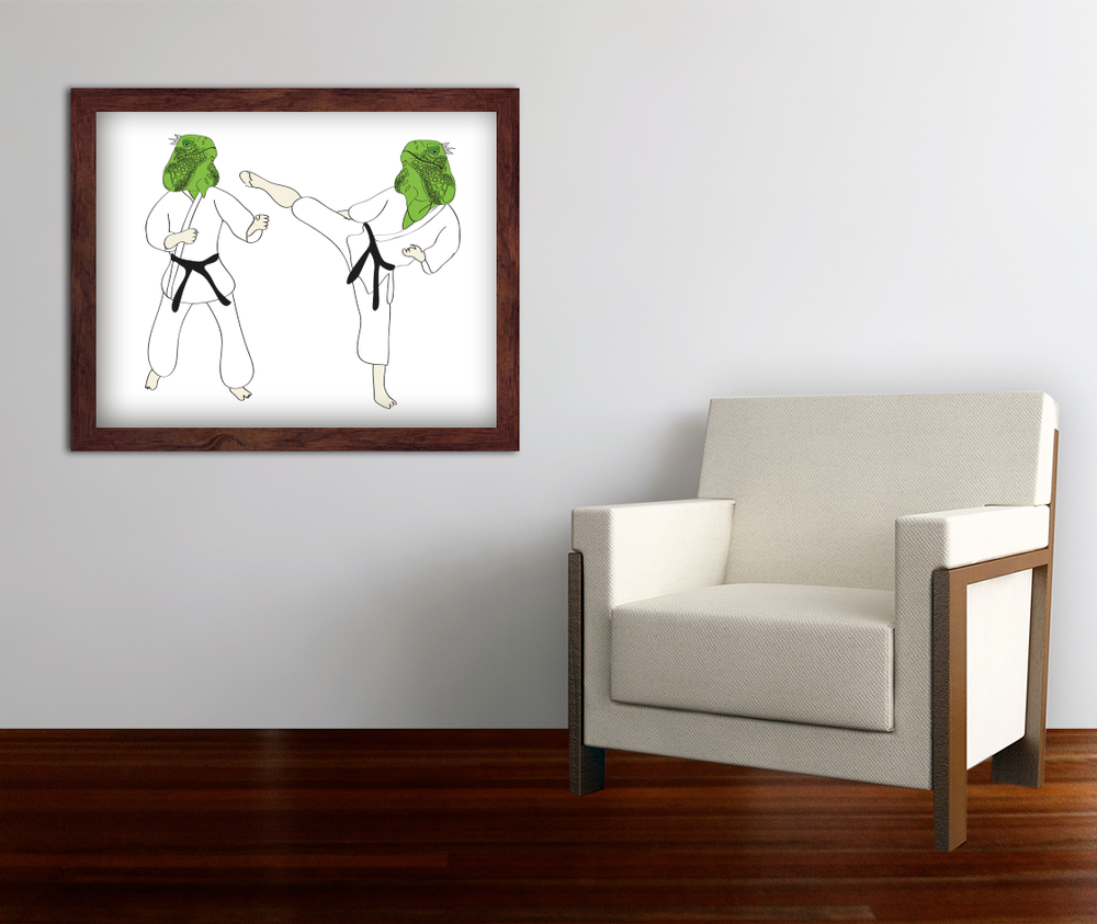 Kung Fu iguana illustration