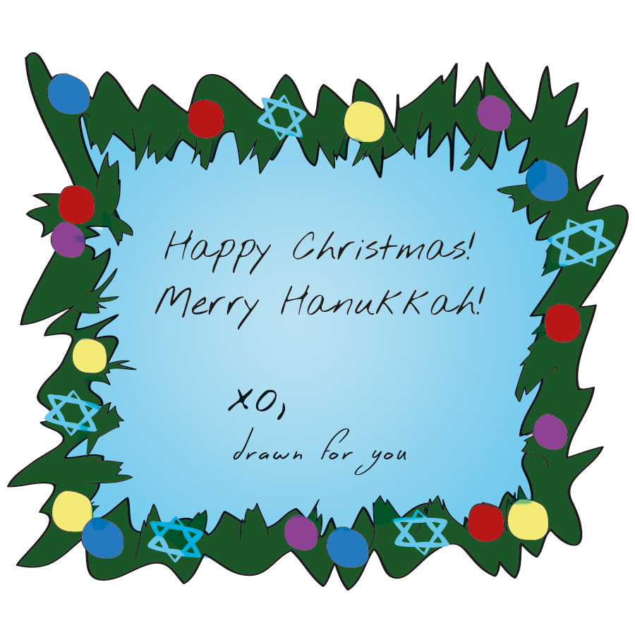 Merry Hanukkah and Happy Christmas illustration
