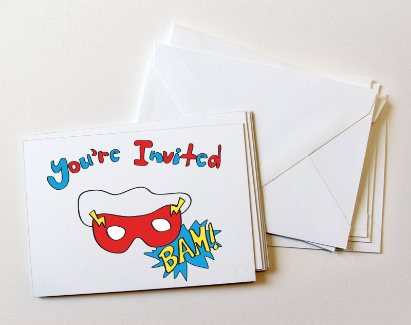 Custom illustration superhero invitations