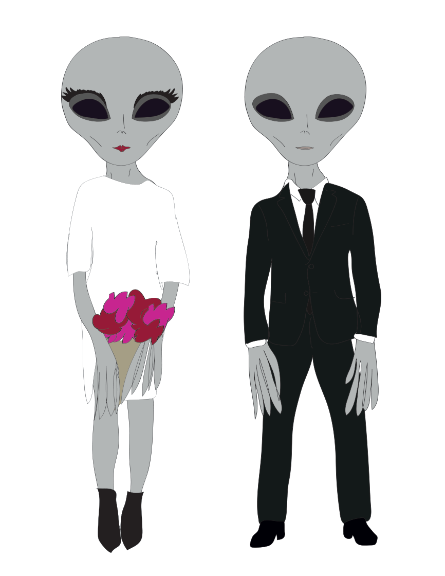 alien wedding illustration