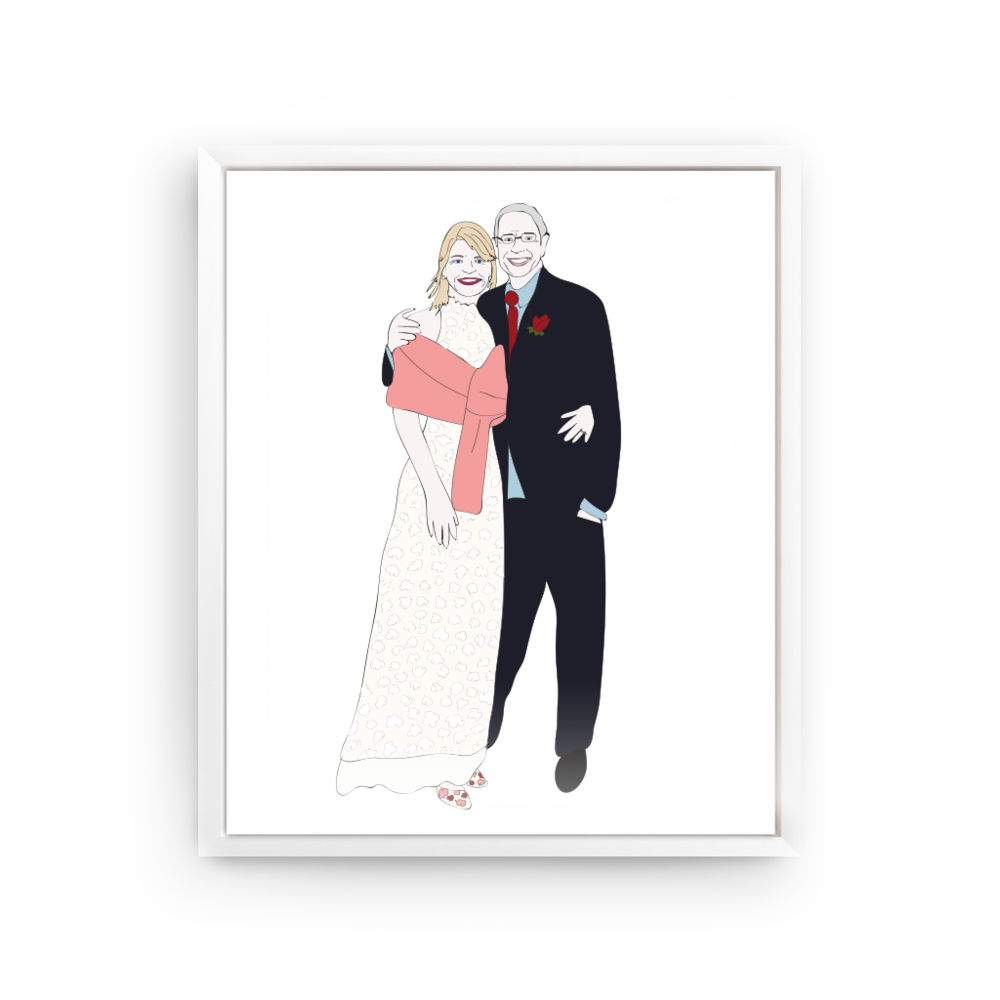 Custom illustration, couple on their wedding day