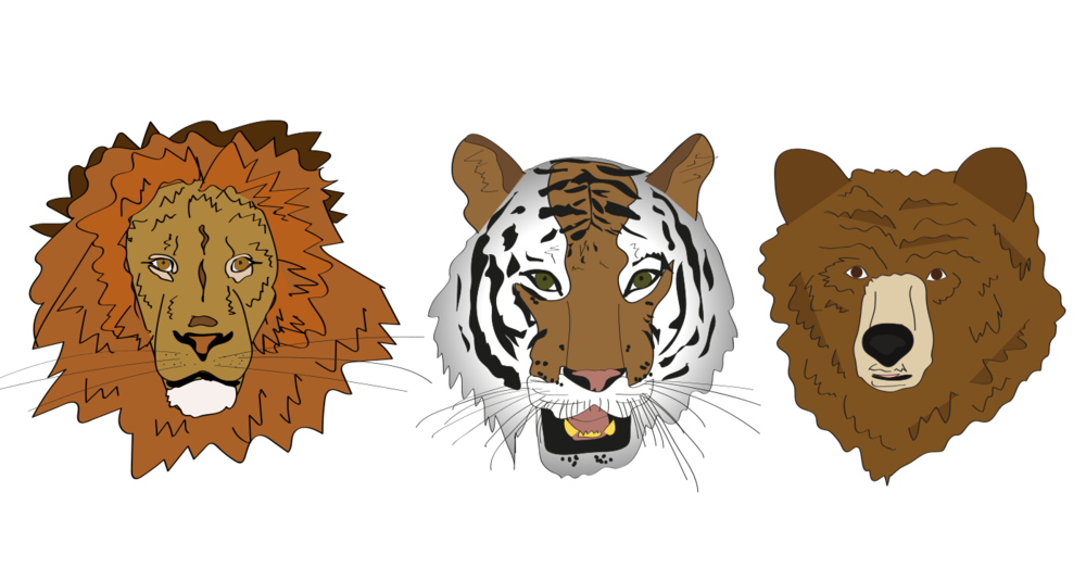 lions, tigers, bears, illustration