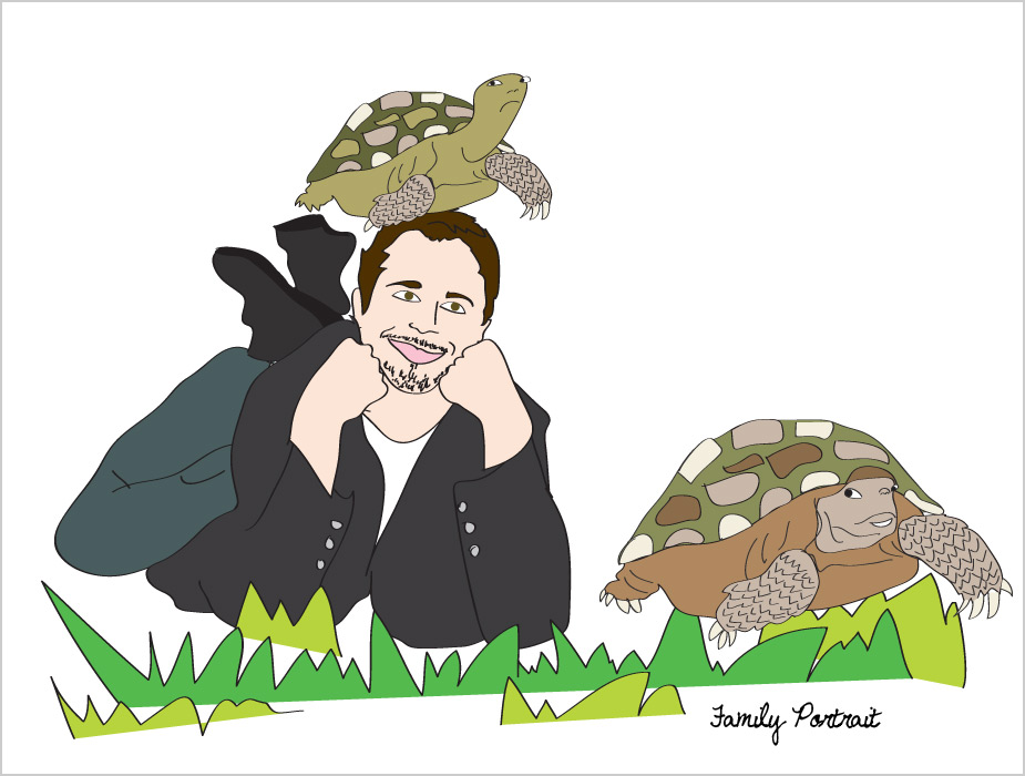 Sal Governale is a turtle, family portrait, Drawn for You
