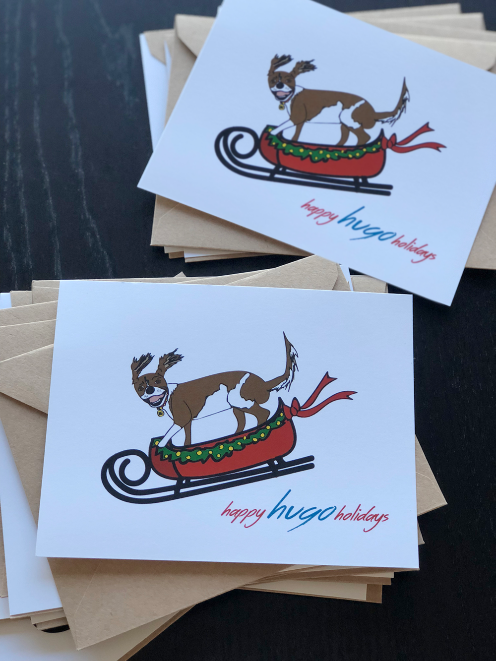 custom illustrated dog holiday cards