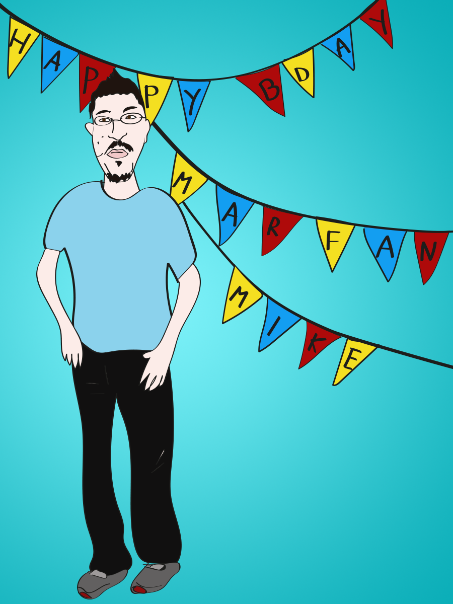 Marfan Mike birthday, illustration