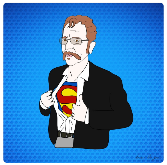 Ronnie Cain, Man of Steel. And really big muscles.  @rmlimodriver69   @RealDeanCain   @sternshow   #illustration