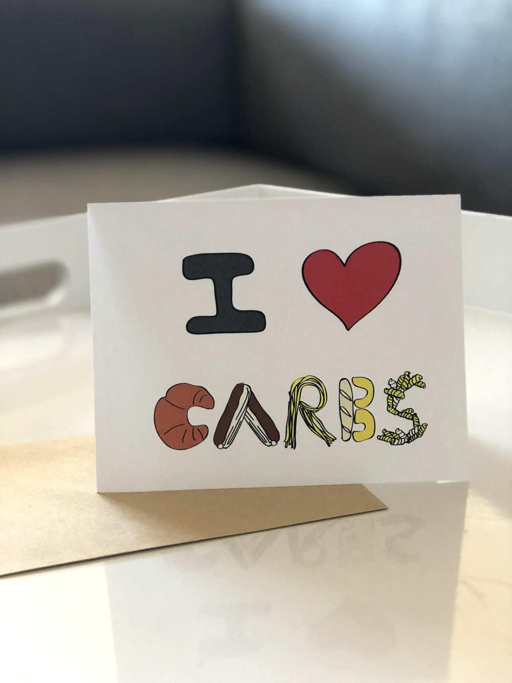 I LOVE CARBS greeting cards illustration