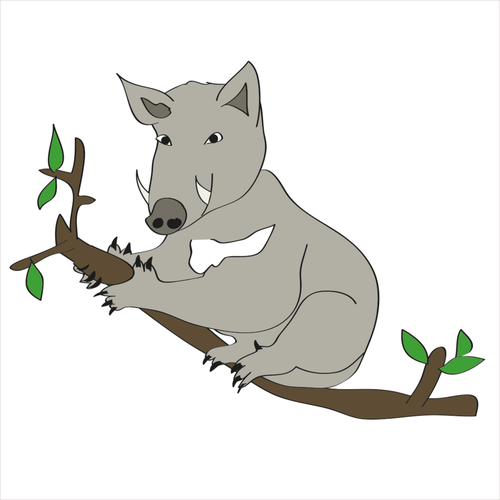 She is a eucalyptus tree dweller with tusks that never stop growing. She is KOALABOAR