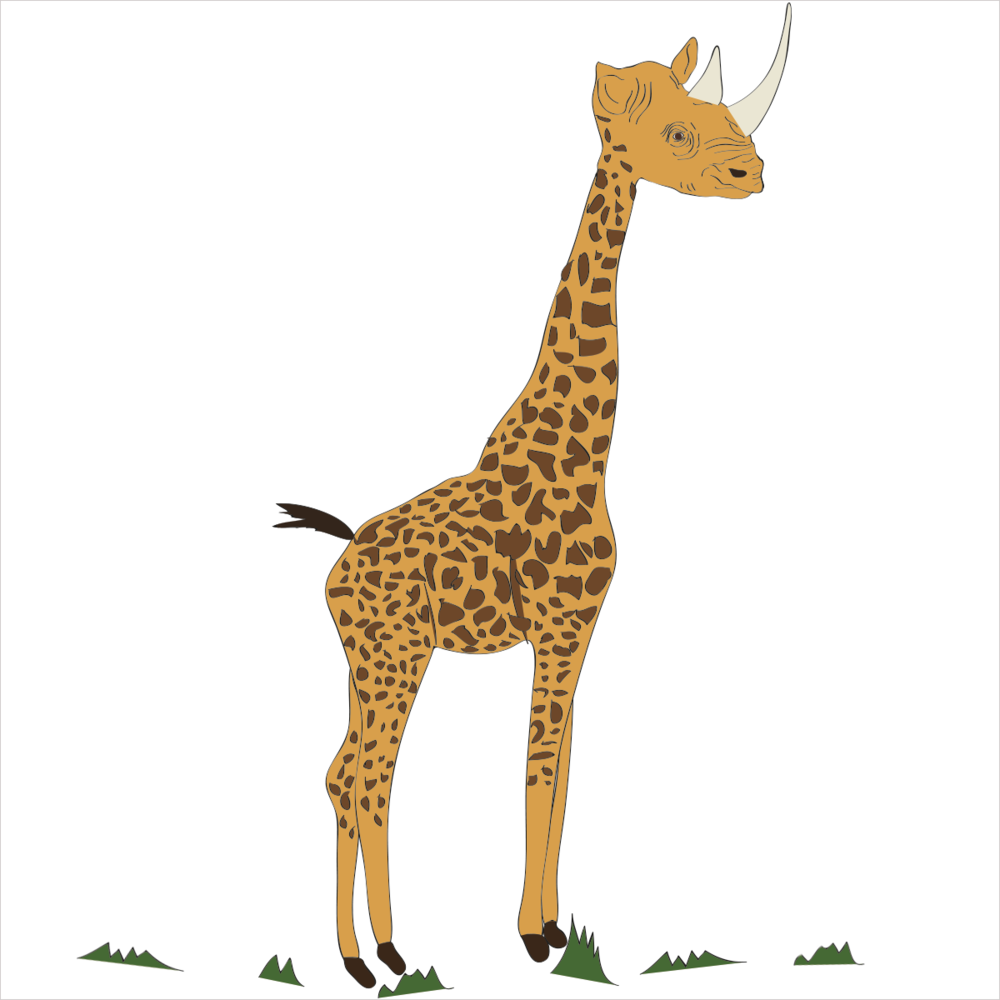 He is the tallest living animal in the world and loves to eat grass but be careful, he is ill tempered and can cut you with his horns. He is RHINOGIRAFFE