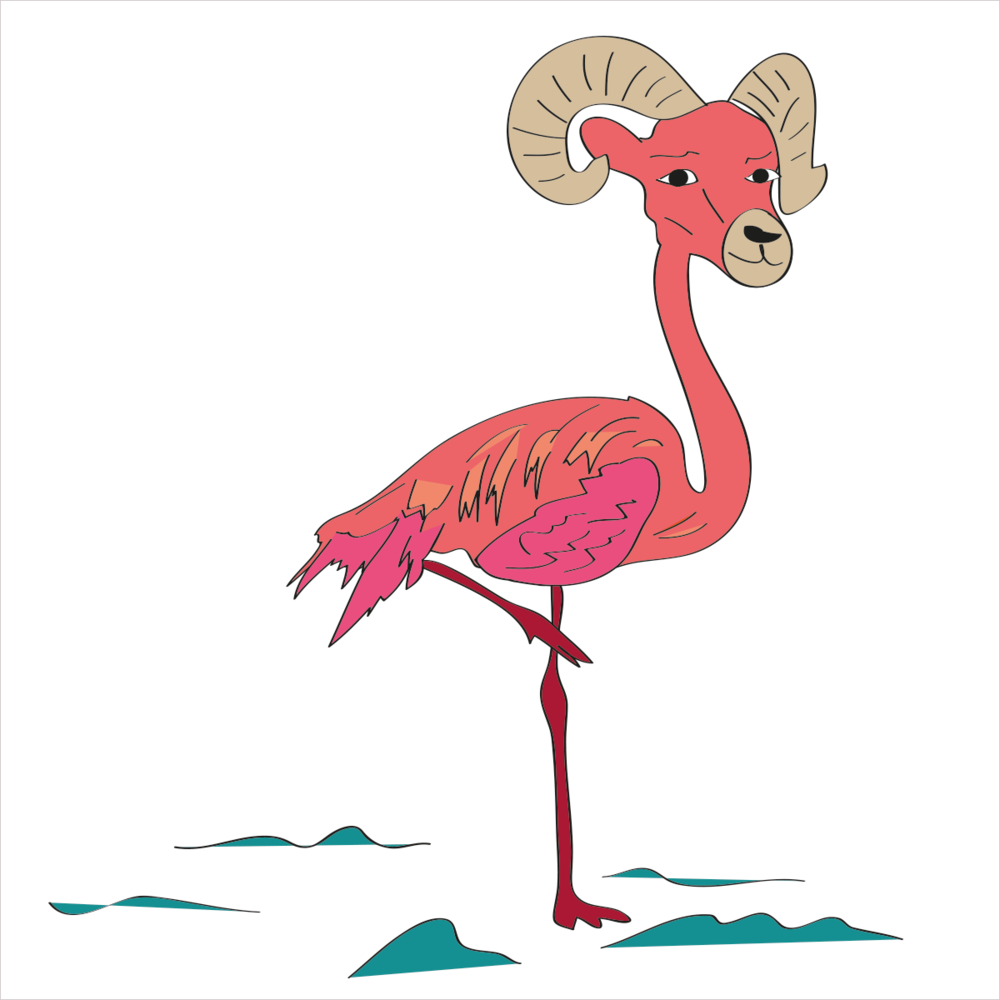 He is pink and likes to show off his gams in wading water but his horns keep him top heavy with lengths reaching over 3 feet. He is FLAMINGORAM