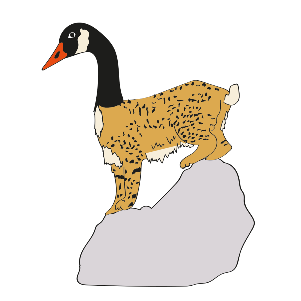 She's spotted for camouflage with a long, elegant neck and able to pounce easily from rocks to trees. She is BOBCATGOOSE