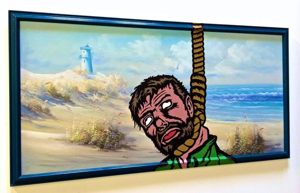 """Last I heard he was in Cape Cod"" Acrylic & spray paint on found/vintage painting/frame. 50""x25"""