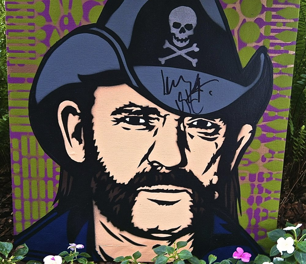 """Lemmy"" stencil painting, signed by Lemmy Kilmister (Motorhead)"