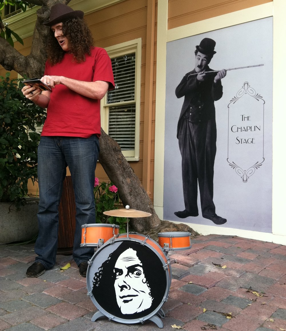 Weid Al Yankovic w/ custom drumset made/painted for a video of his.
