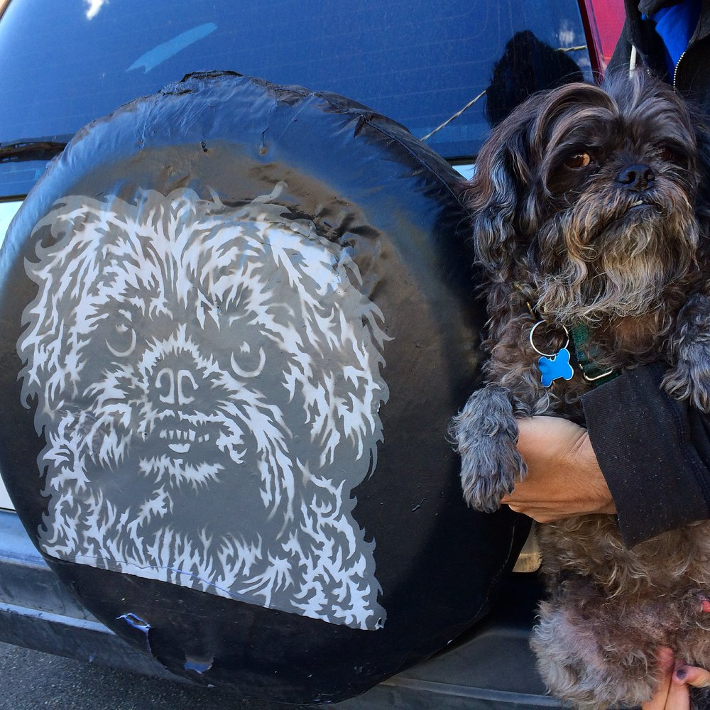 Stencil of Boris the dog.