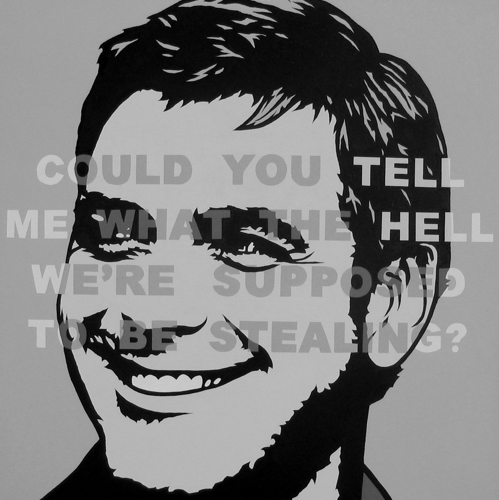 "George Clooney painting made for CAA ""Oceans 12"" commission (Collection of George Clooney) Acrylic on canvas, 24""x24"""