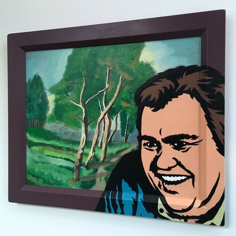 """Candyland"" (John Candy) Acrylic & spray paint on found/vintage painting/frame."