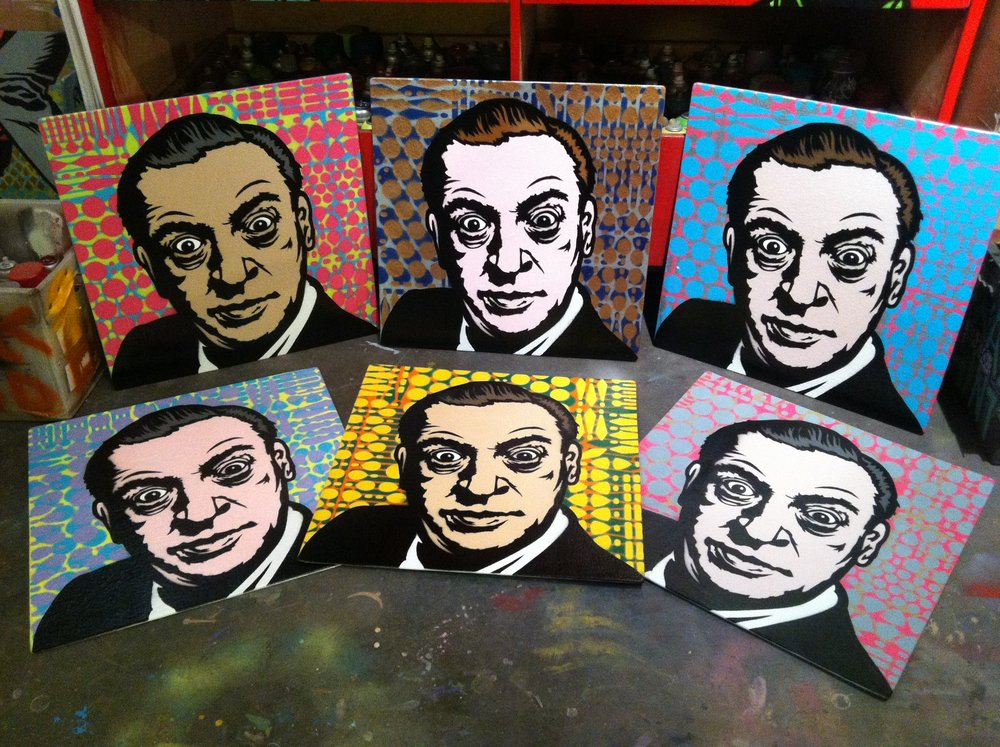 """Respect"" (Rodney Dangerfield) Spray paint/stencil on wood panel, 20""x20"" Edition of 6"