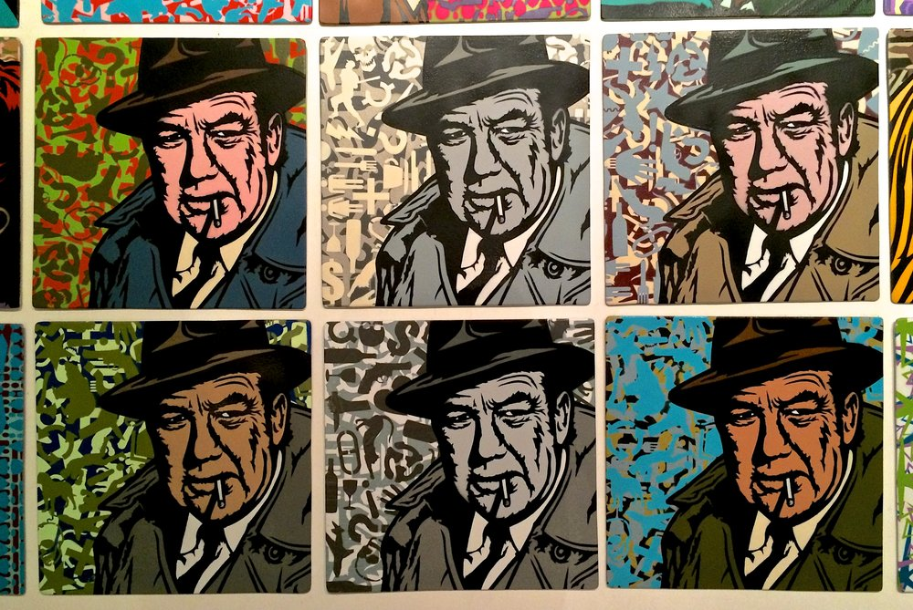 """Gumshoe"" (Broderick Crawford) Spray paint/stencil on wood panel, 20""x20"" Edition of 6"