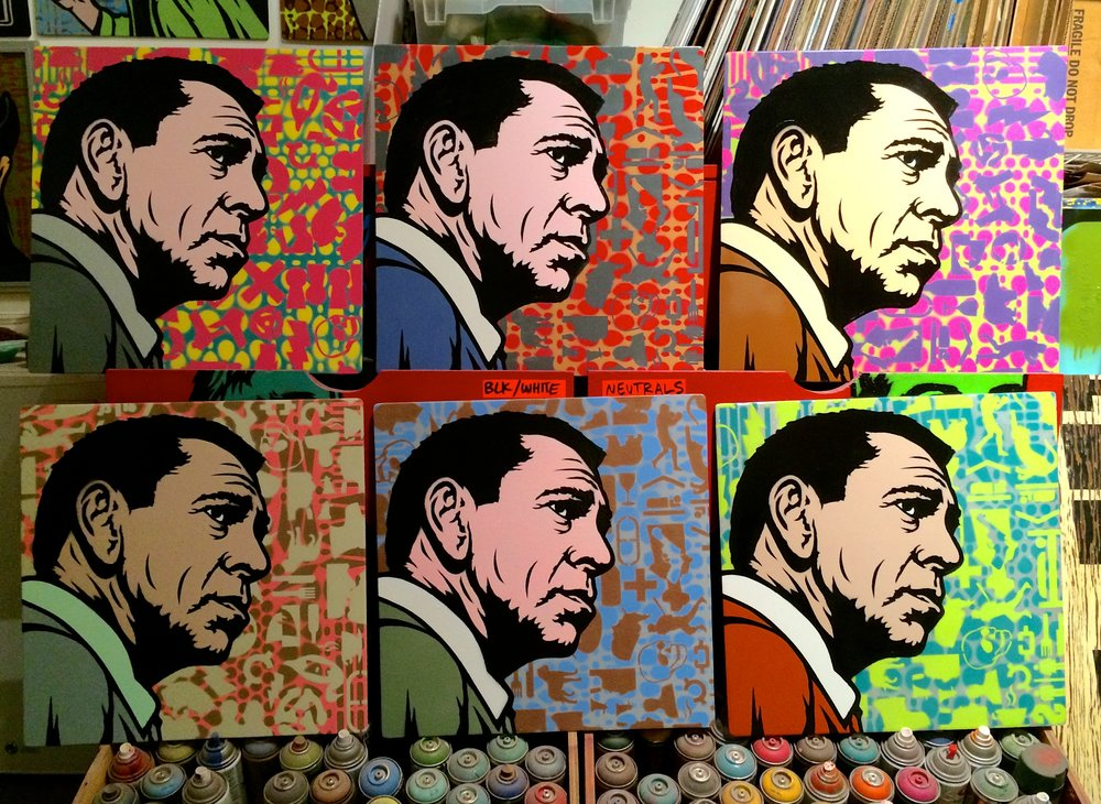 """Jack Webb"" (or ""Never Trust a Hippie"") Spray paint/stencil on wood panel, 20""x20"" Edition of 6"