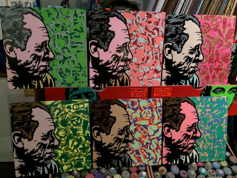 """Bukowski"" Spray paint/stencil on wood panel, 20""x20"" Edition of 6"