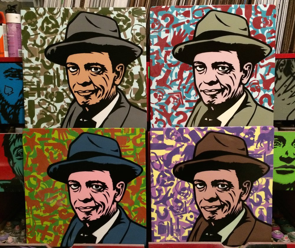 """Don Knotts"" (Series 2) Spray paint/stencil on wood panel, 20""x20"" Edition of 4"