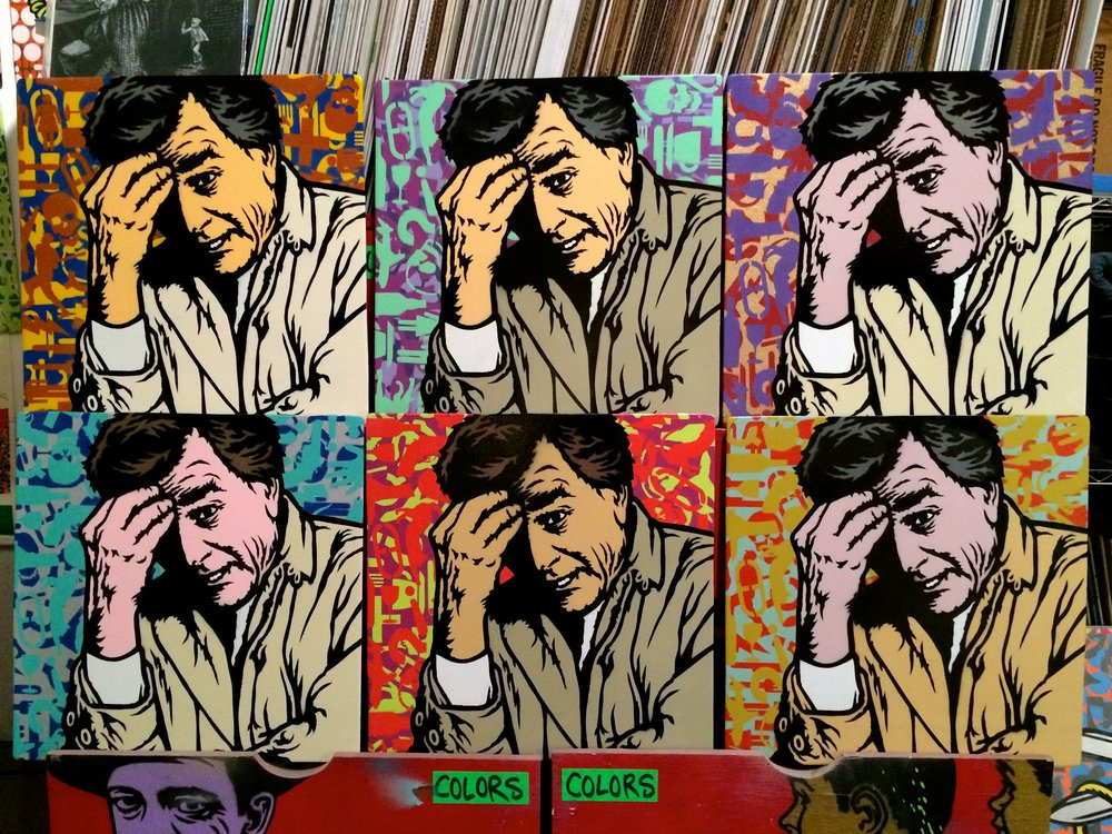 """One More Thing"" (Columbo) Spray paint/stencil on wood panel, 20""x20"" Edition of 6"