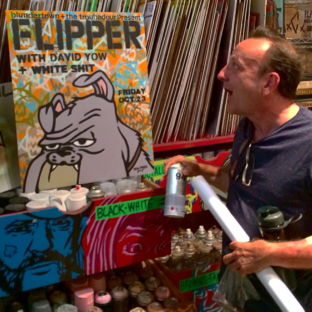 David Yow (Jesus Lizard, Scratch Acid) w/ poster design done for his Los Angeles show with Flipper, 2015
