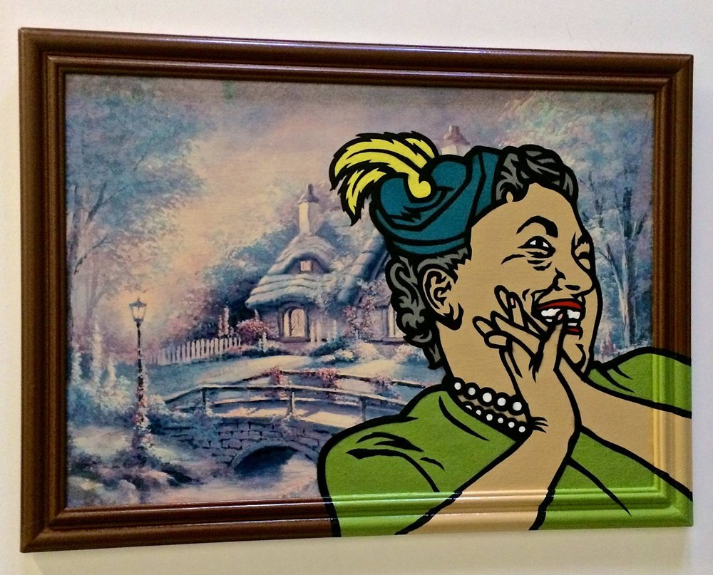 """If she's happy, I'm happy"" Acrylic & spray paint on found/vintage painting/frame. 23""x32"""