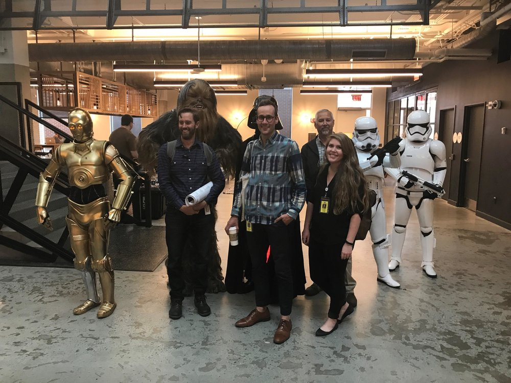 "Team HLG having some fun on a rainy day...  ""May the Fourth"" be with you!"