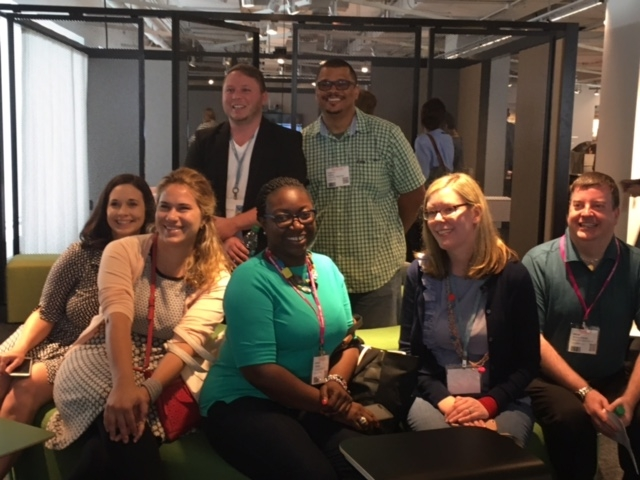 Some happy faces visiting the Knoll Showroom at NeoCon