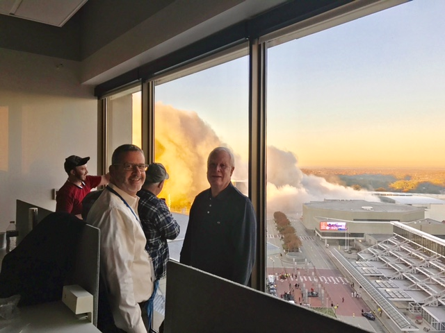 Matt and Steve took in the Dome implosion excitement this morning with our Turner friend, Fred Tharpe.  CNN proved to be a great spot for watching the well-executed action!