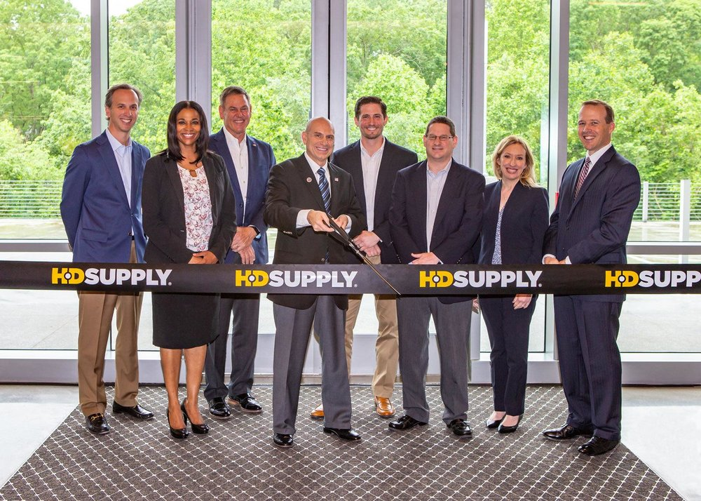 Conratulations to the HD Supply team!   Last Thursday May 17, HD Supply hosted the ribbon-cutting ceremony for the new headquarters in Atlanta! The official opening celebrates an exciting milestone in HD Supply's history and a monumental investment in the companies future. We were glad to be part of the team which consisted of Greenstone Properties, Colliers International, Holder Construction, Shell McElroy Construction, Wakefield Beasley & Associates, Office Creations and Zio, as well as local City of Atlanta and Cobb County officials.