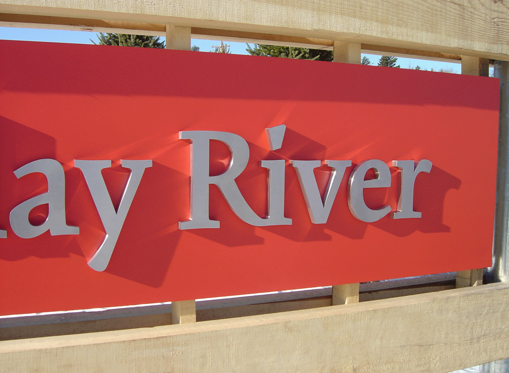 Sunday River Sign Detail, Metal Letters